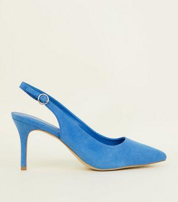 chaussures-en-suédine-bleue-pointues-à-bride-arrière by new-look