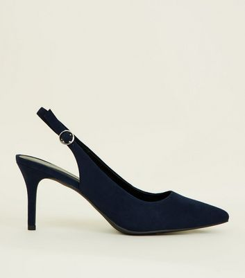 Navy Suedette Pointed Slingbacks