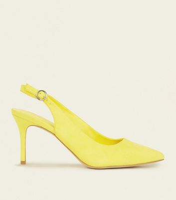 Bright Yellow Suedette Pointed Slingbacks