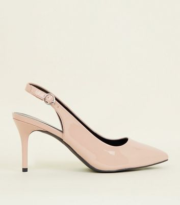 Nude Patent Pointed Slingbacks