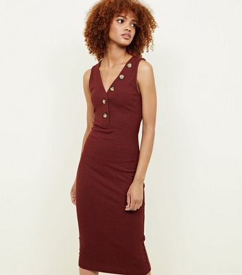 Plum V-Neck Sleeveless Jersey Midi Dress
