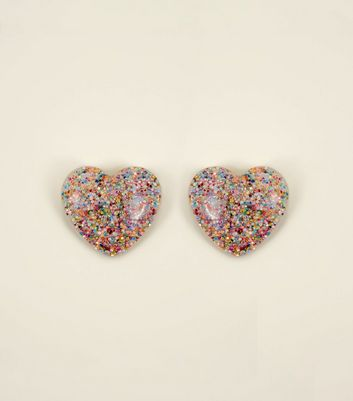 Multi Coloured Glitter Heart Stud Earrings