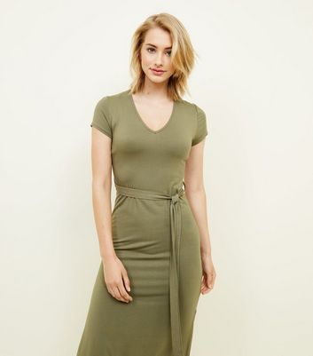 Khaki V-Neck Jersey Maxi Dress