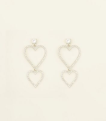 Crystal Heart Drop Earrings by New Look