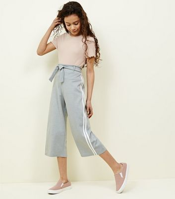 Teens Grey Stripe Side Culottes