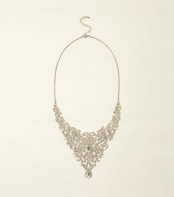Silver Premium Diamanté and Gem Bib Necklace