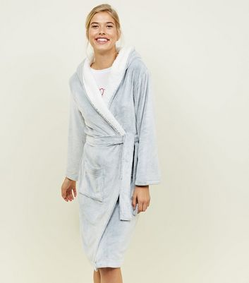 Pale Grey Hooded Borg Trim Dressing Gown