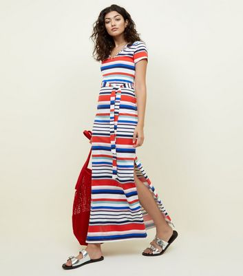 White Stripe Tie Waist Maxi T-Shirt Dress