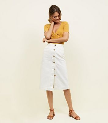 Off White Button Up Denim Midi Skirt