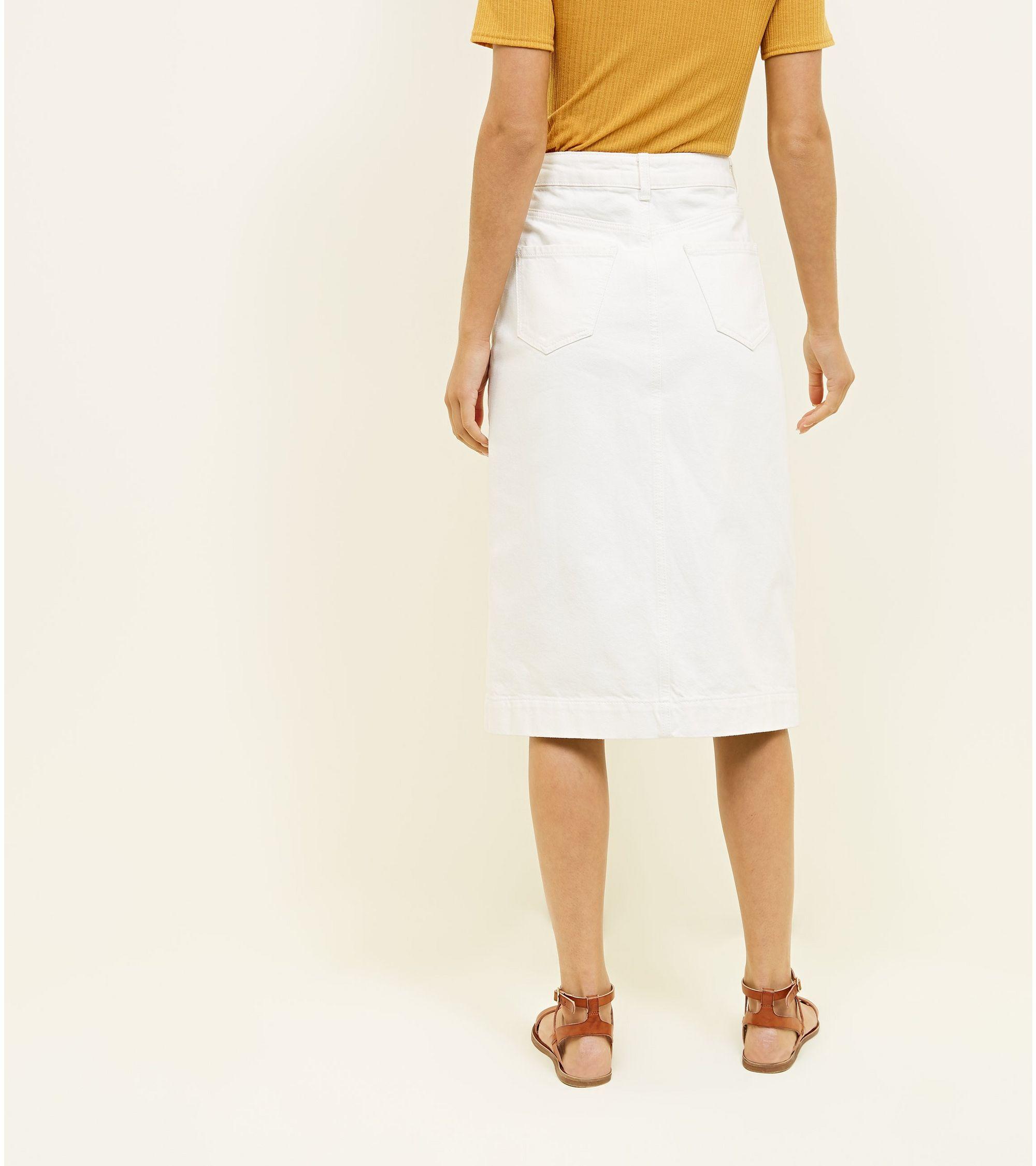 c527eef80a New Look Off White Button Through Denim Midi Skirt at £25.99 | love ...