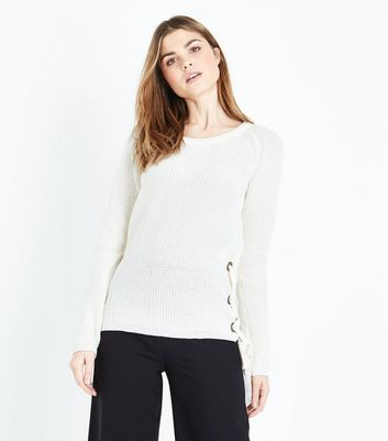 Apricot Cream Eyelet Lattice Side Jumper