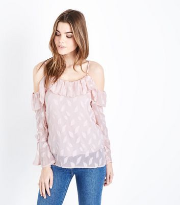 QED Pink Frill Trim Cold Shoulder Top