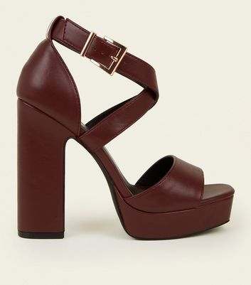 Dark Red Leather-Look Square Toe Platform Sandals