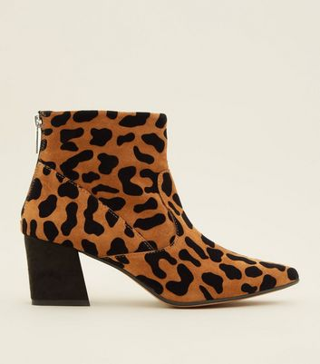 Tan Premium Suede Leopard Print Pointed Boots