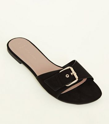 Wide Fit Black Suedette Buckle Strap Sliders