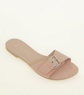 Wide Fit Nude Suedette Buckle Strap Sliders