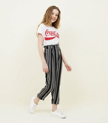 Teens Black Stripe Paperbag Waist Tapered Trousers