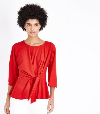 Cameo Rose Red Tie Front Top