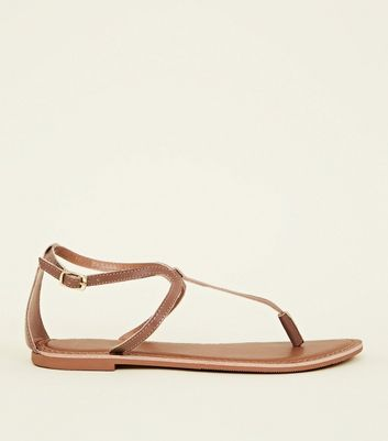 Wide Fit Tan Leather Flat Sandals