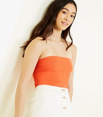 Bright Orange Cotton Blend Bandeau by New Look