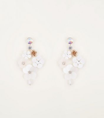 White Floral Drop Sequin Earrings by New Look