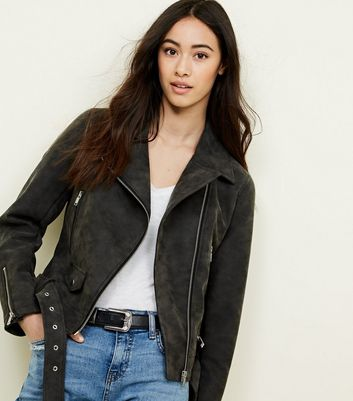 Dark Grey Matte Leather-Look Biker Jacket