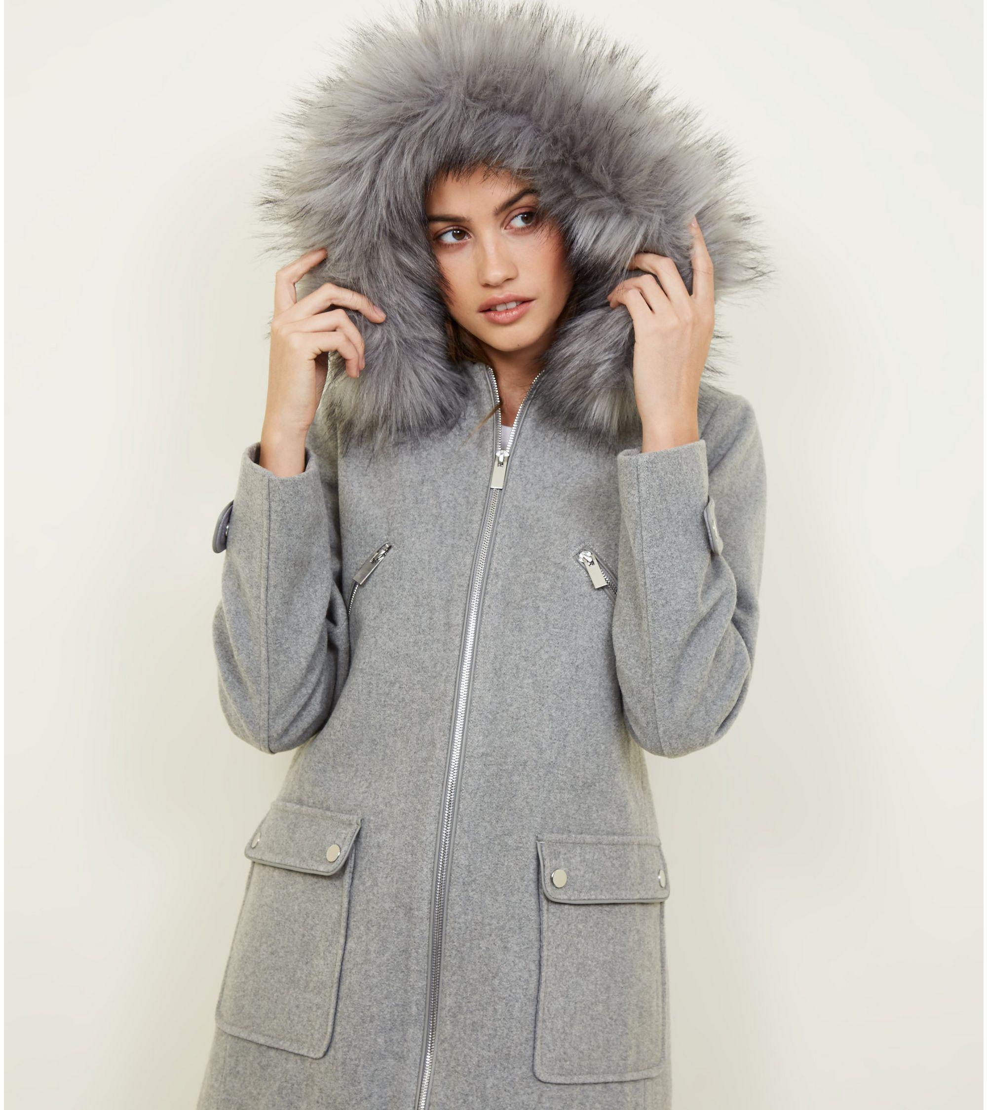670840f1009d New Look Pale Grey Faux Fur Trim Duffle Coat at £37.49 | love the brands
