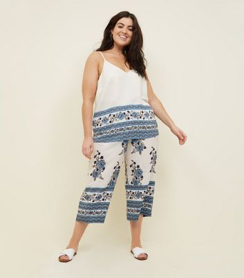 Curves White Floral Border Print Culottes