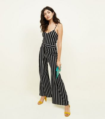 Pink Vanilla Black Stripe Belted Buckle Jumpsuit
