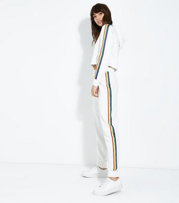 Cream Rainbow Side Stripe Joggers