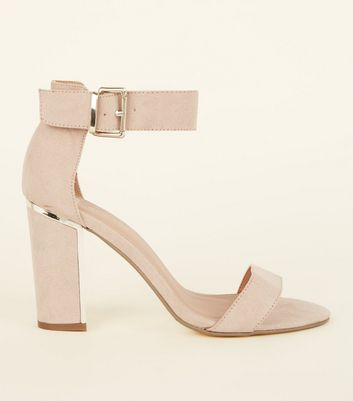 Wide Fit Nude Suedette Metal Trim Block Heels