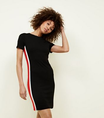 Black Stripe Side Ribbed Bodycon Dress