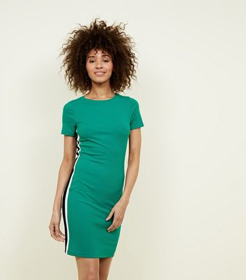 Green Stripe Side Ribbed Bodycon Dress