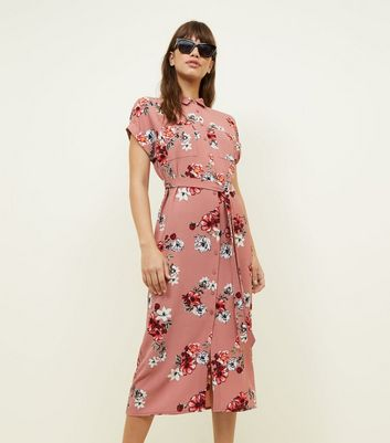 Pink Floral Belted Midi Shirt Dress