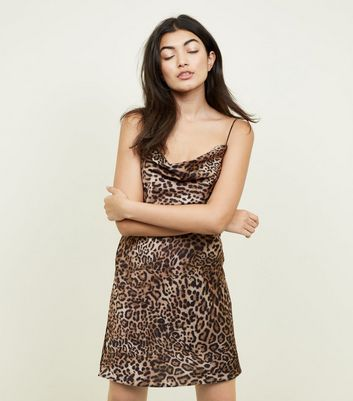 Brown Leopard Print Cowl Neck Slip Dress