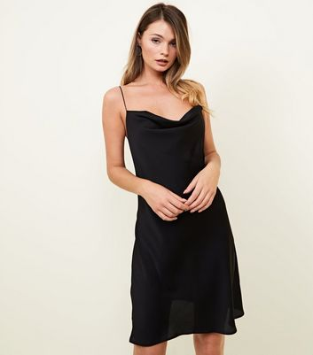 Black Cowl Neck Slip Dress by New Look