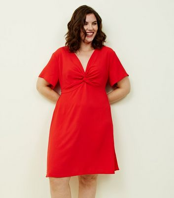 Curves Red Twist Front Dress