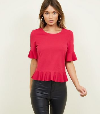 Bright Pink Ruffle Trim 1/2 Sleeve Top
