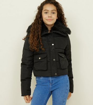Girls Black Faux Fur Trim Short Puffer Coat