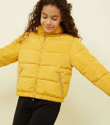 Teens Mustard Funnel Neck Puffer Jacket
