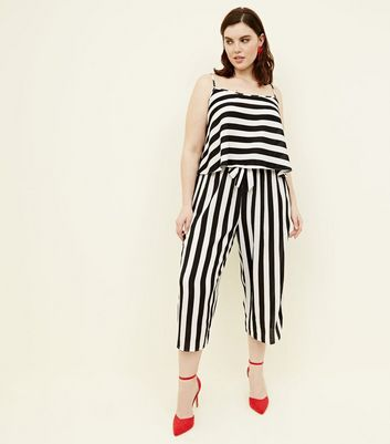 Curves White Wide Stripe Cropped Trousers