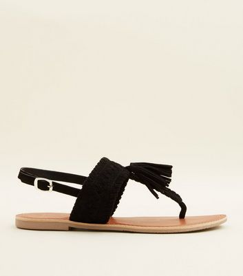 Wide Fit Black Suede Tassel Woven Strap Sandals