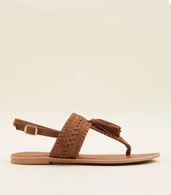 Wide Fit Tan Suede Tassel Woven Strap Sandals