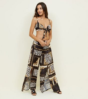 Black Baroque Beach Trousers by New Look