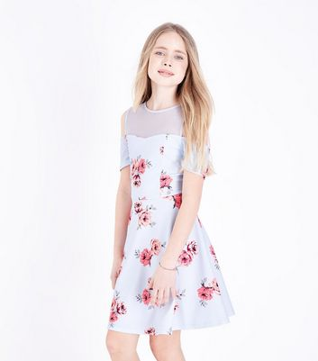 Teens Blue Floral Mesh Skater Dress