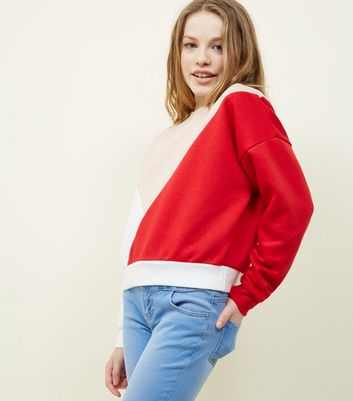 Teens Red Colour Block Sweatshirt