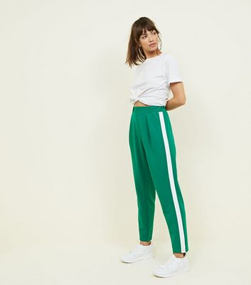 Green Side Stripe Jersey Tapered Trousers