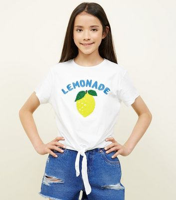 Teens White Lemonade Embroidered Tie Front T-Shirt