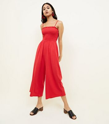 Petite Red Shirred Jersey Culotte Jumpsuit