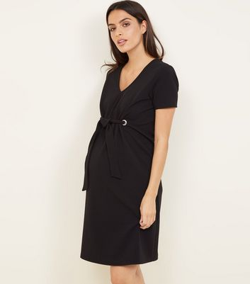 Maternity Black Eyelet Tie Front Dress